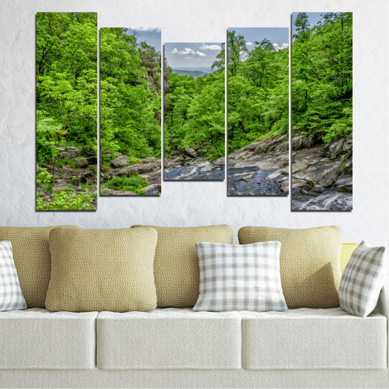 Canvas prints & wall decorative panels - 5 pieces №0552 » Green, Black, Gray, Dark grey » Nature, Landscape, Water, Forest Form #4