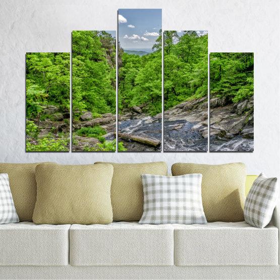 Декоративни панели и картини от канава - от 5 части №0552 » Зелен, Черен, Сив, Тъмно сив » Природа, Пейзаж, Гора, Вода Form #5