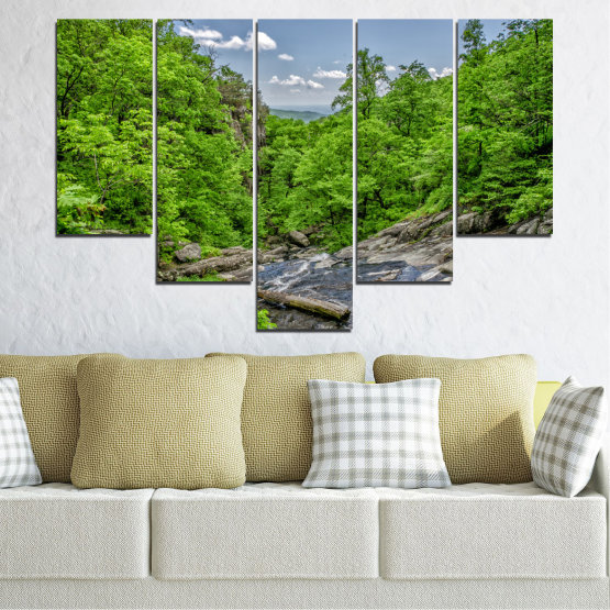 Canvas prints & wall decorative panels - 5 pieces №0552 » Green, Black, Gray, Dark grey » Nature, Landscape, Forest, Water Form #6