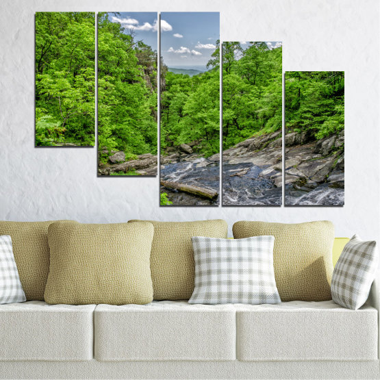 Canvas prints & wall decorative panels - 5 pieces №0552 » Green, Black, Gray, Dark grey » Nature, Landscape, Water, Forest Form #7