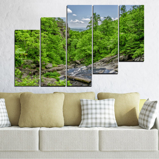 Canvas prints & wall decorative panels - 5 pieces №0552 » Green, Black, Gray, Dark grey » Nature, Landscape, Forest, Water Form #8