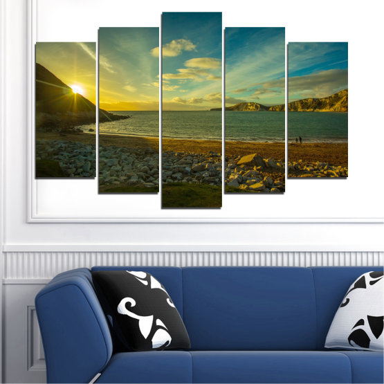 Canvas prints & wall decorative panels - 5 pieces №0553 » Brown, Black, Gray, Dark grey » Sea, Water, Beach, Sun, Sunrise, Sky, Seaside Form #1