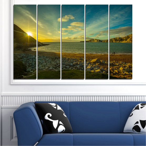 Canvas prints & wall decorative panels - 5 pieces №0553 » Brown, Black, Gray, Dark grey » Sea, Water, Beach, Sun, Sunrise, Sky, Seaside Form #2