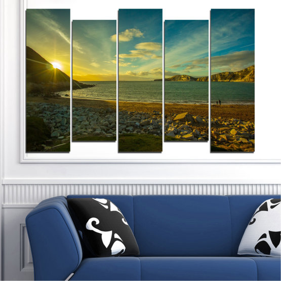 Canvas prints & wall decorative panels - 5 pieces №0553 » Brown, Black, Gray, Dark grey » Sea, Water, Beach, Sun, Sunrise, Sky, Seaside Form #3