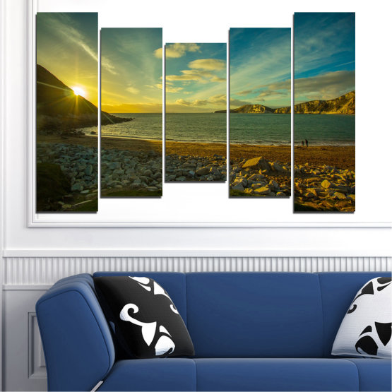 Canvas prints & wall decorative panels - 5 pieces №0553 » Brown, Black, Gray, Dark grey » Sea, Water, Beach, Sun, Sunrise, Sky, Seaside Form #4