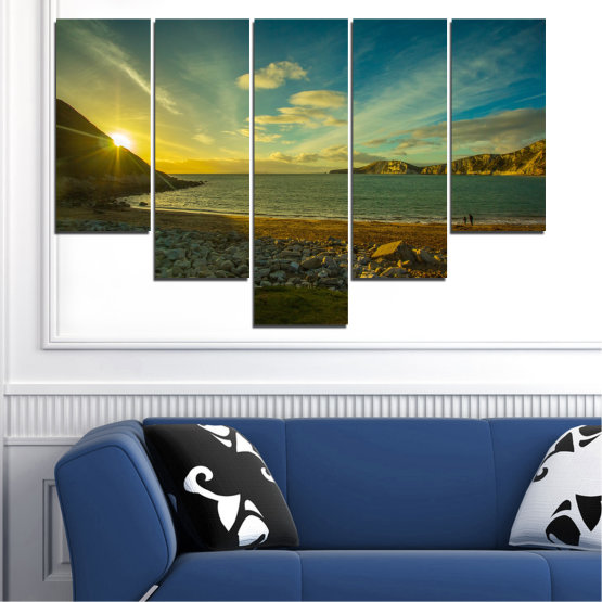 Canvas prints & wall decorative panels - 5 pieces №0553 » Brown, Black, Gray, Dark grey » Sea, Water, Beach, Sun, Sunrise, Sky, Seaside Form #6