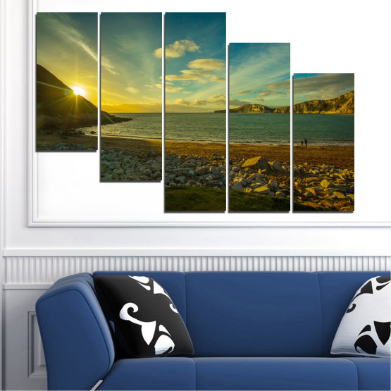 Canvas prints & wall decorative panels - 5 pieces №0553 » Brown, Black, Gray, Dark grey » Sea, Water, Beach, Sun, Sunrise, Sky, Seaside Form #7