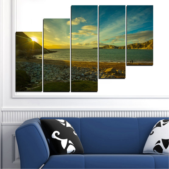 Canvas prints & wall decorative panels - 5 pieces №0553 » Brown, Black, Gray, Dark grey » Sea, Water, Beach, Sun, Sunrise, Sky, Seaside Form #8