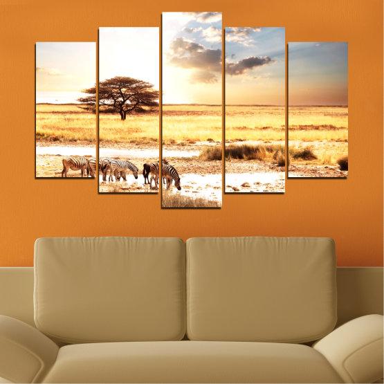 Декоративни панели и картини от канава - от 5 части №0554 » Жълт, Оранжев, Сив, Бял, Бежов » Животни, Африка, Зебра Form #1