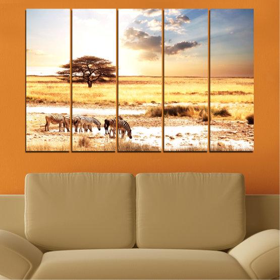 Декоративни панели и картини от канава - от 5 части №0554 » Жълт, Оранжев, Сив, Бял, Бежов » Животни, Африка, Зебра Form #2