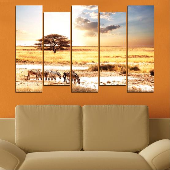 Декоративни панели и картини от канава - от 5 части №0554 » Жълт, Оранжев, Сив, Бял, Бежов » Животни, Африка, Зебра Form #3