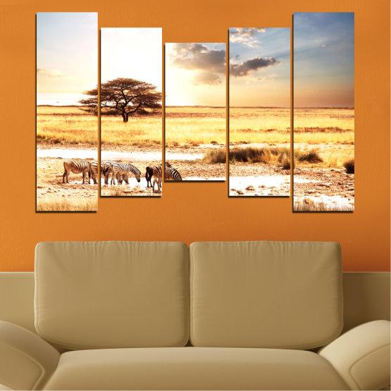 Декоративни панели и картини от канава - от 5 части №0554 » Жълт, Оранжев, Сив, Бял, Бежов » Животни, Африка, Зебра Form #4