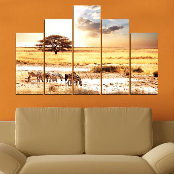 Декоративни панели и картини от канава - от 5 части №0554 » Жълт, Оранжев, Сив, Бял, Бежов » Животни, Африка, Зебра Form #5