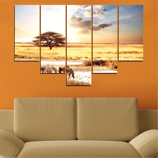 Декоративни панели и картини от канава - от 5 части №0554 » Жълт, Оранжев, Сив, Бял, Бежов » Животни, Африка, Зебра Form #6