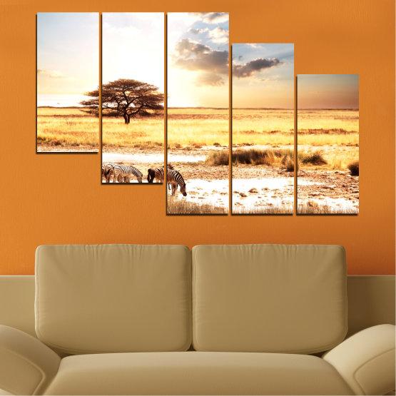 Декоративни панели и картини от канава - от 5 части №0554 » Жълт, Оранжев, Сив, Бял, Бежов » Животни, Африка, Зебра Form #7