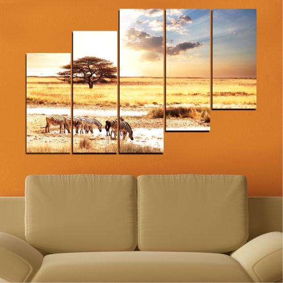 Декоративни панели и картини от канава - от 5 части №0554 » Жълт, Оранжев, Сив, Бял, Бежов » Животни, Африка, Зебра Form #8