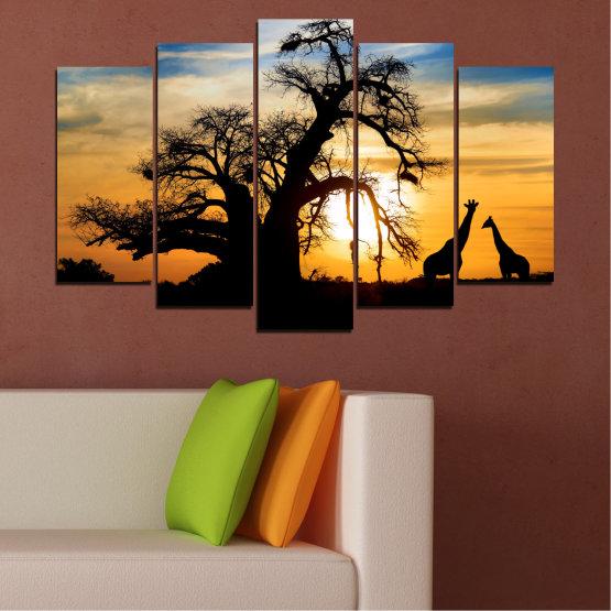 Εκτύπωση σε καμβά και διακοσμητικά πάνελ τοίχου - 5 τεμάχια №0555 » Κίτρινος, Πορτοκάλι, Μαύρος, Γκρί, Μπεζ » Ηλιοβασίλεμα, Δέντρο, Αφρική, Σκιά Form #1