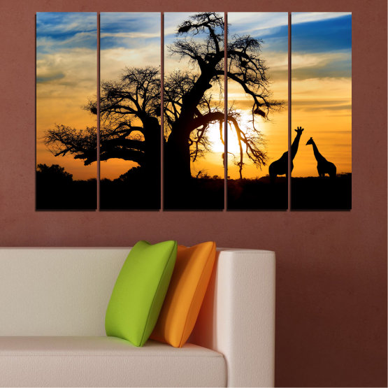 Canvas prints & wall decorative panels - 5 pieces №0555 » Yellow, Orange, Black, Gray, Beige » Sunset, Tree, Africa, Shadow Form #2