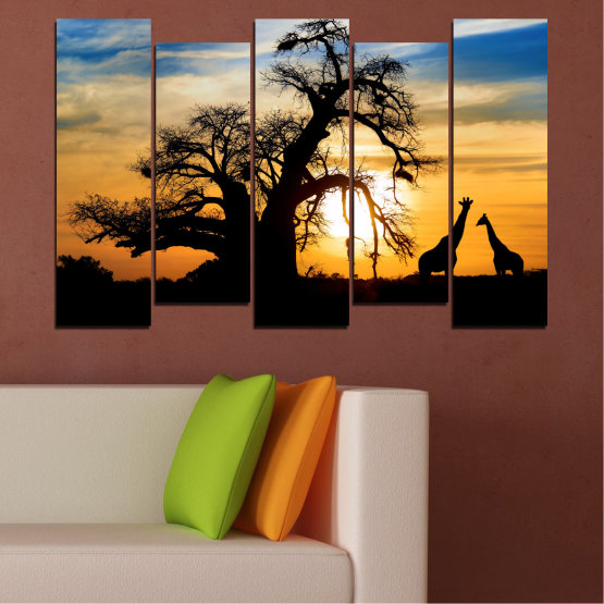 Canvas prints & wall decorative panels - 5 pieces №0555 » Yellow, Orange, Black, Gray, Beige » Sunset, Tree, Africa, Shadow Form #3