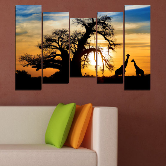 Canvas prints & wall decorative panels - 5 pieces №0555 » Yellow, Orange, Black, Gray, Beige » Sunset, Tree, Africa, Shadow Form #4