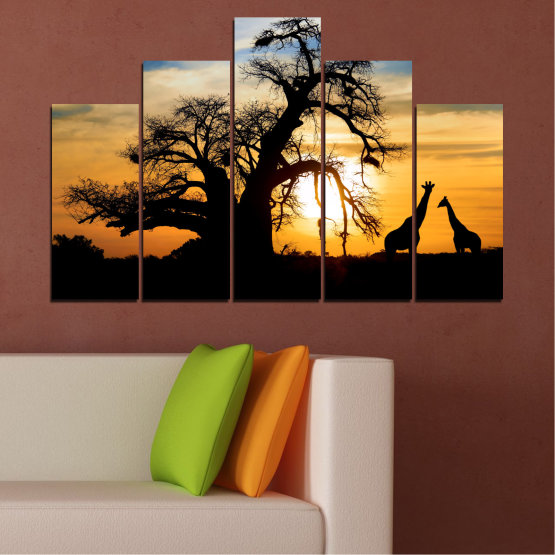 Canvas prints & wall decorative panels - 5 pieces №0555 » Yellow, Orange, Black, Gray, Beige » Sunset, Tree, Africa, Shadow Form #5