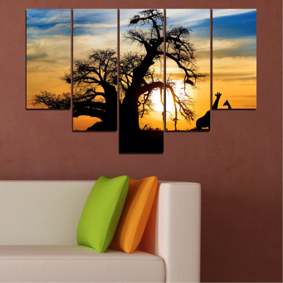 Canvas prints & wall decorative panels - 5 pieces №0555 » Yellow, Orange, Black, Gray, Beige » Sunset, Tree, Africa, Shadow Form #6
