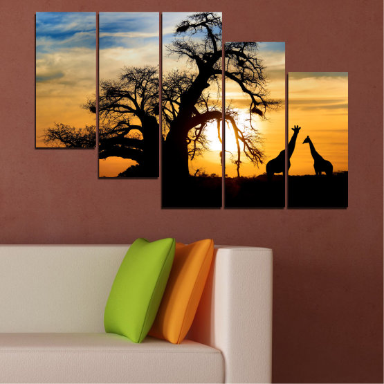 Canvas prints & wall decorative panels - 5 pieces №0555 » Yellow, Orange, Black, Gray, Beige » Sunset, Tree, Africa, Shadow Form #7