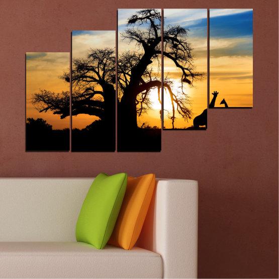 Εκτύπωση σε καμβά και διακοσμητικά πάνελ τοίχου - 5 τεμάχια №0555 » Κίτρινος, Πορτοκάλι, Μαύρος, Γκρί, Μπεζ » Ηλιοβασίλεμα, Δέντρο, Αφρική, Σκιά Form #8