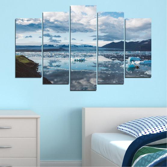 Декоративни панели и картини от канава - от 5 части №0557 » Сив, Бял, Тъмно сив » Вода, Сняг, Зима, Лед Form #1
