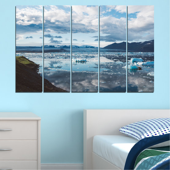 Canvas prints & wall decorative panels - 5 pieces №0557 » Gray, White, Dark grey » Water, Snow, Winter, Ice Form #2