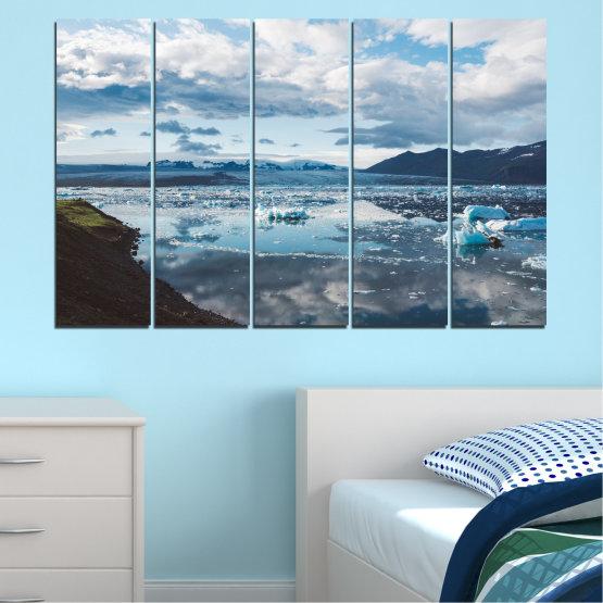 Декоративни панели и картини от канава - от 5 части №0557 » Сив, Бял, Тъмно сив » Вода, Сняг, Зима, Лед Form #2