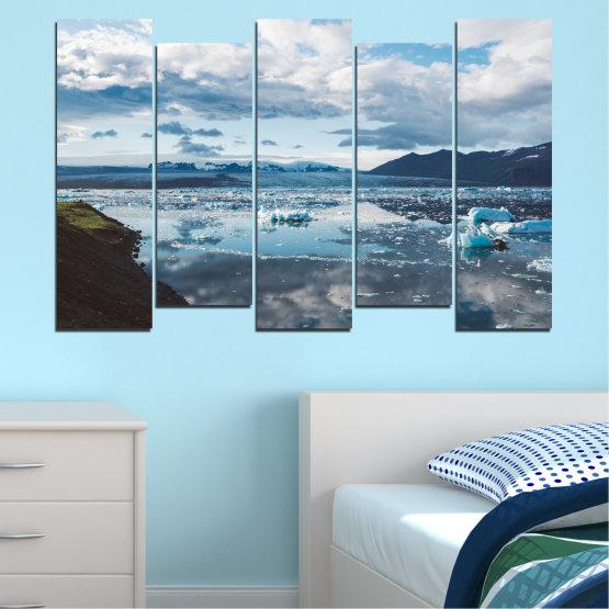 Декоративни панели и картини от канава - от 5 части №0557 » Сив, Бял, Тъмно сив » Вода, Сняг, Зима, Лед Form #3