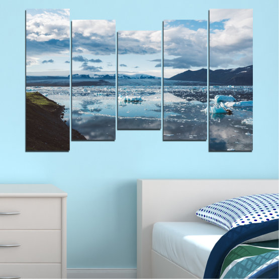 Canvas prints & wall decorative panels - 5 pieces №0557 » Gray, White, Dark grey » Water, Snow, Winter, Ice Form #4