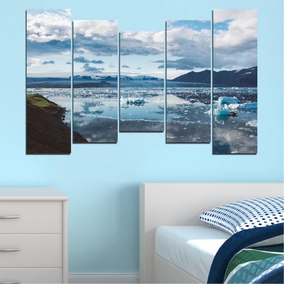 Декоративни панели и картини от канава - от 5 части №0557 » Сив, Бял, Тъмно сив » Вода, Сняг, Зима, Лед Form #4