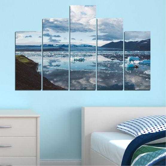 Декоративни панели и картини от канава - от 5 части №0557 » Сив, Бял, Тъмно сив » Вода, Сняг, Зима, Лед Form #5