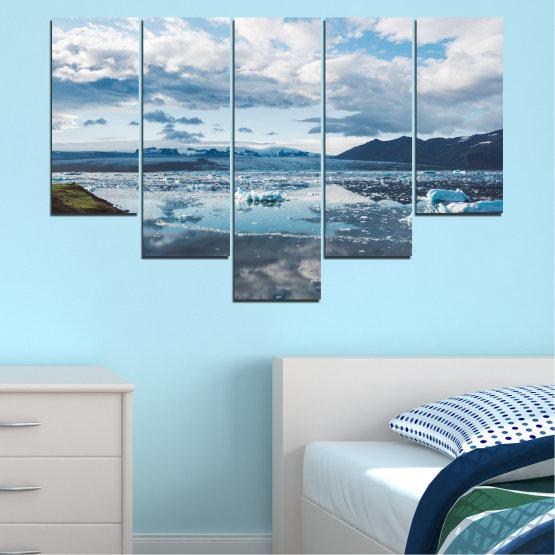 Декоративни панели и картини от канава - от 5 части №0557 » Сив, Бял, Тъмно сив » Вода, Сняг, Зима, Лед Form #6
