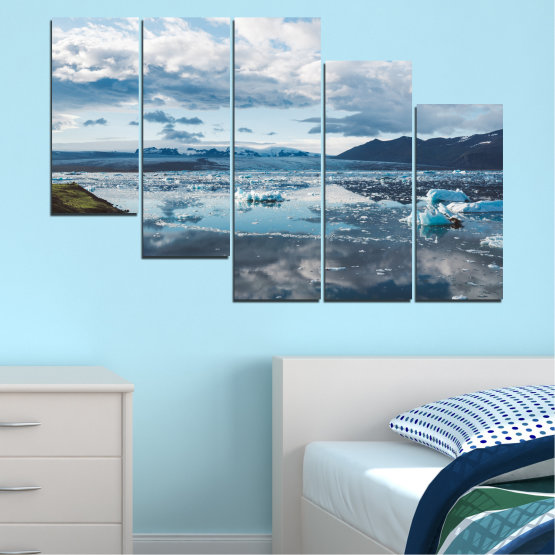 Canvas prints & wall decorative panels - 5 pieces №0557 » Gray, White, Dark grey » Water, Snow, Winter, Ice Form #7