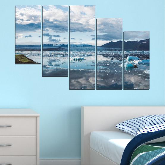 Декоративни панели и картини от канава - от 5 части №0557 » Сив, Бял, Тъмно сив » Вода, Сняг, Зима, Лед Form #7