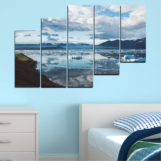 Canvas prints & wall decorative panels - 5 pieces №0557 » Gray, White, Dark grey » Water, Snow, Winter, Ice Form #8