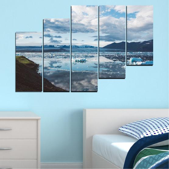 Декоративни панели и картини от канава - от 5 части №0557 » Сив, Бял, Тъмно сив » Вода, Сняг, Зима, Лед Form #8