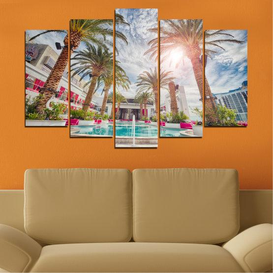 Декоративни панели и картини от канава - от 5 части №0558 » Кафяв, Сив, Тъмно сив » Вода, Слънце, Дърво, Хотел Form #1