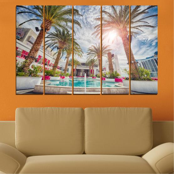 Декоративни панели и картини от канава - от 5 части №0558 » Кафяв, Сив, Тъмно сив » Вода, Слънце, Дърво, Хотел Form #2