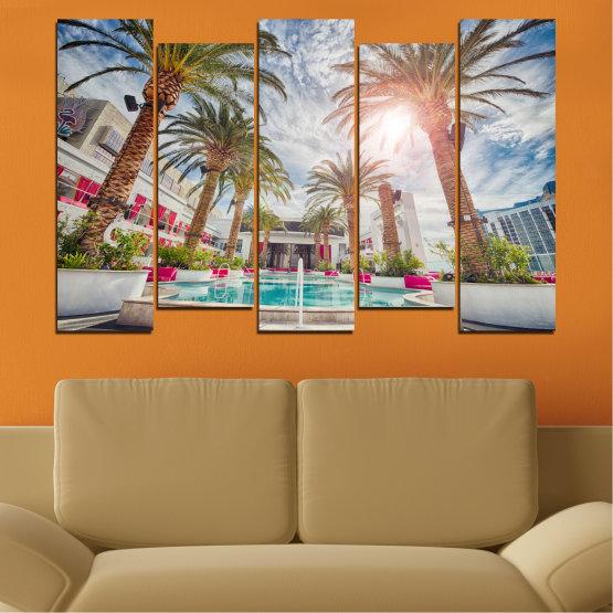 Декоративни панели и картини от канава - от 5 части №0558 » Кафяв, Сив, Тъмно сив » Вода, Слънце, Дърво, Хотел Form #3