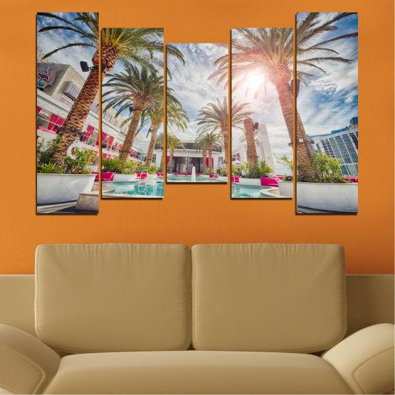 Декоративни панели и картини от канава - от 5 части №0558 » Кафяв, Сив, Тъмно сив » Вода, Слънце, Дърво, Хотел Form #4