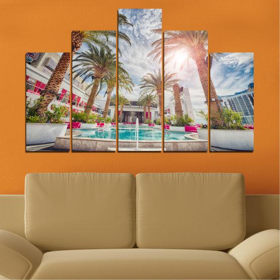 Декоративни панели и картини от канава - от 5 части №0558 » Кафяв, Сив, Тъмно сив » Вода, Слънце, Дърво, Хотел Form #5