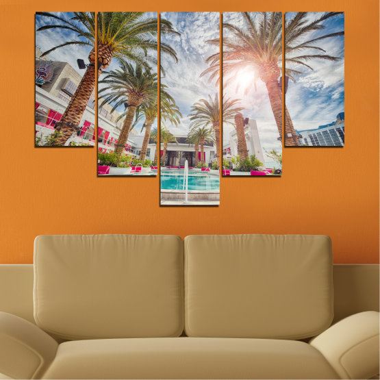 Декоративни панели и картини от канава - от 5 части №0558 » Кафяв, Сив, Тъмно сив » Вода, Слънце, Дърво, Хотел Form #6