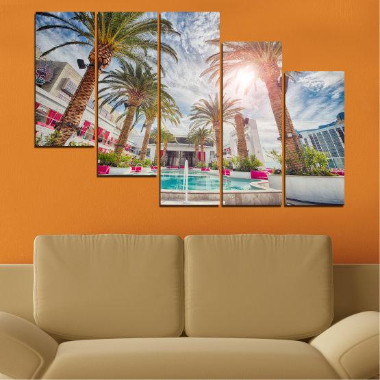 Декоративни панели и картини от канава - от 5 части №0558 » Кафяв, Сив, Тъмно сив » Вода, Слънце, Дърво, Хотел Form #7