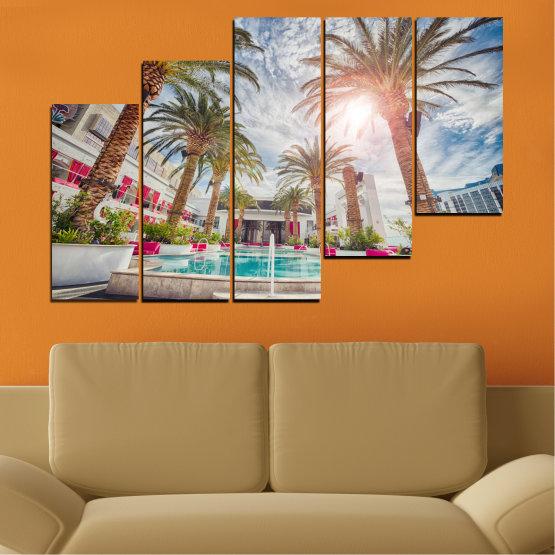 Декоративни панели и картини от канава - от 5 части №0558 » Кафяв, Сив, Тъмно сив » Вода, Слънце, Дърво, Хотел Form #8