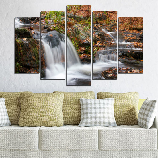 Canvas prints & wall decorative panels - 5 pieces №0559 » Brown, Black, Gray, Dark grey » Nature, Landscape, Waterfall, Water, Autumn Form #1