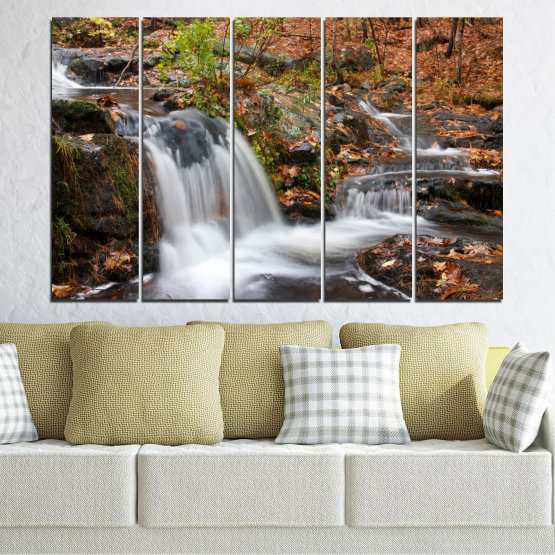 Canvas prints & wall decorative panels - 5 pieces №0559 » Brown, Black, Gray, Dark grey » Nature, Landscape, Waterfall, Water, Autumn Form #2